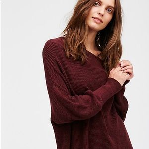 NWT Free People Alana Pullover Sweater Wine